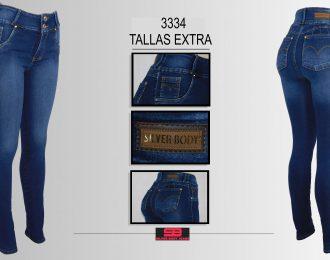 Jeans corte colombiano-TALLAS EXTRA, para dama modelo 3334